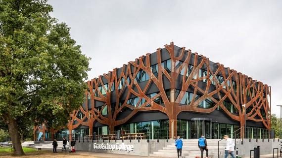 Енергоефективний коледж зі сталевими деревами на фасаді