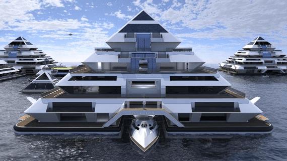 Представлена концепция города на воде из плавучих пирамидальных зданий