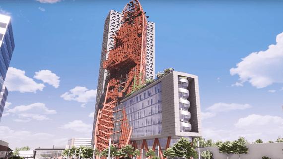 В Чехии построят небоскреб с гигантским кораблем на фасаде здания