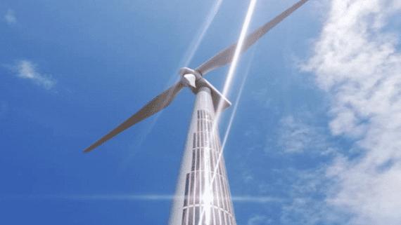 В Испании на ветровую турбину установили гибкие солнечные панели