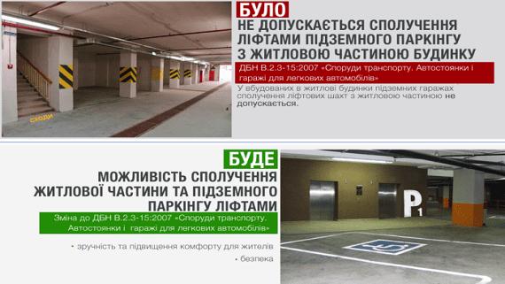 Мінрегіон дозволили проектувати ліфти в підземний паркінг